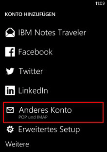 Windows Phone 8: Konto hinzufügen