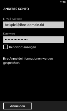 Windows Phone 8: Anmeldeinformationen eingeben